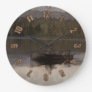 Fishing in Silence Large Clock
