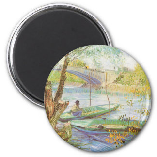Fishing in Spring by Vincent van Gogh 6 Cm Round Magnet