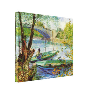 Fishing in Spring by Vincent van Gogh Stretched Canvas Prints