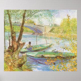 Fishing in Spring, van Gogh, Vintage Impressionism Posters