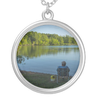 Fishing In The Morning Silver Plated Necklace