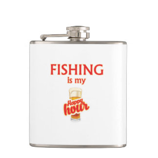 Fishing Is My Happy Hour Hip Flask