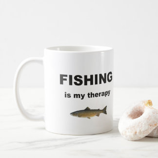 Fishing Is My Therapy, Funny Fisherman Coffee Mug