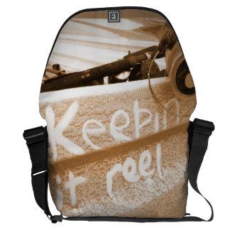 Fishing keepin it Reel beach fish rod beige Messenger Bag