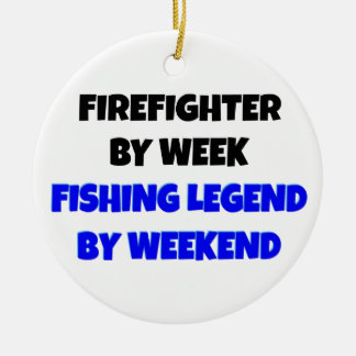 Fishing Legend Firefighter Round Ceramic Decoration