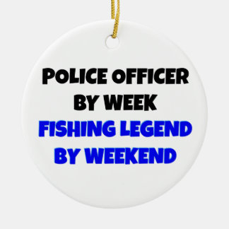 Fishing Legend Police Officer Ceramic Ornament