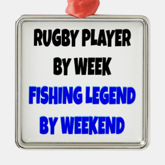 Fishing Legend Rugby Player Silver-Colored Square Decoration