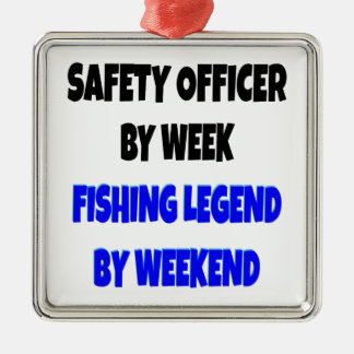 Fishing Legend Safety Officer Silver-Colored Square Decoration