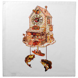 Fishing Lodge Cuckoo Clock Napkin