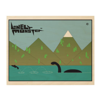 Fishing Lonely Monster Wood Print