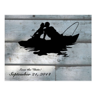 Fishing Lovers Wood Save the Date Postcard