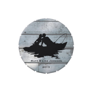 Fishing Lovers Wood Wedding Personalised Jelly Belly Tins