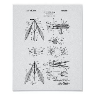 Fishing Lure 1926 Patent Art White Paper Poster