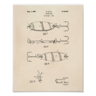 Fishing Lure 1964 Patent Art Old Peper Poster