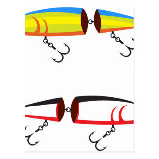Fishing lure sections plastic tail vector postcard