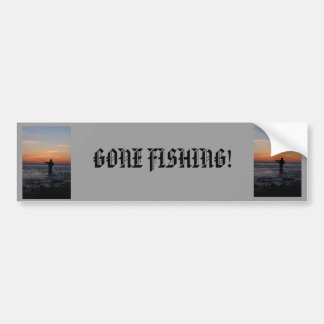 fishing man sunset, fishing man sunset, GONE FI... Bumper Sticker