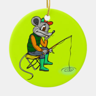 Fishing Mouse Christmas Ornaments