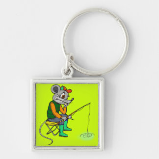 Fishing Mouse Silver-Colored Square Key Ring