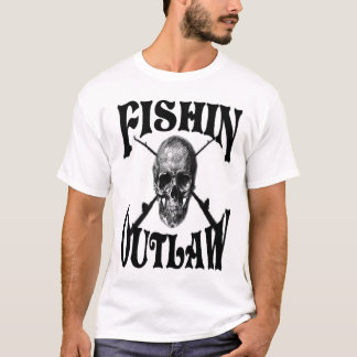 fishing outlaw with skull vand cross poles T-Shirt
