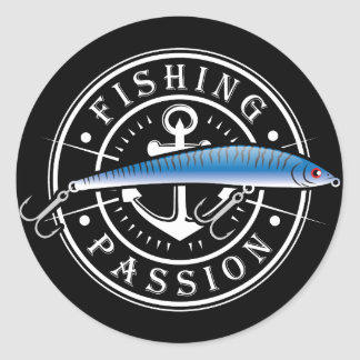 Fishing Passion Classic Round Sticker