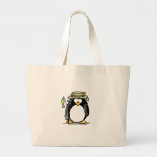 Fishing Penguin Large Tote Bag