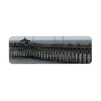 Fishing Pier - Oak Island, North Carolina Return Address Label