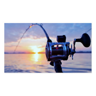 Fishing Reel at Sunset Business Card Template