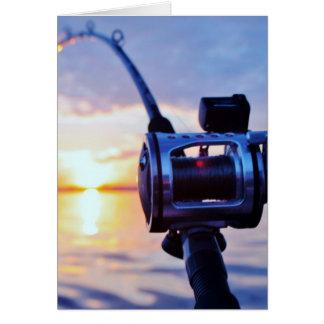 Fishing Reel at Sunset Greeting Card