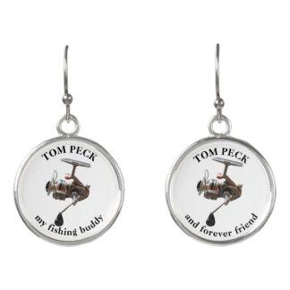 Fishing reel earrings