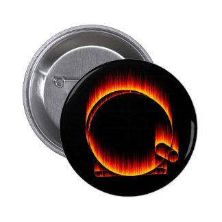 Fishing Reel on Fire 6 Cm Round Badge