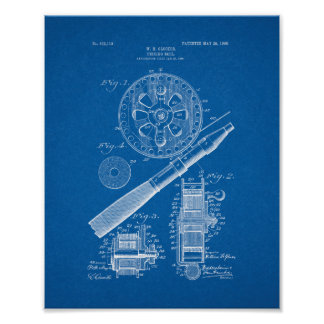 Fishing Reel Patent - Blueprint Poster