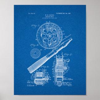 Fishing Reel Patent - Blueprint Poster