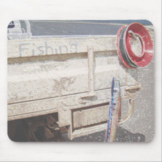 Fishing reel red grey silver beach ute mouse pad