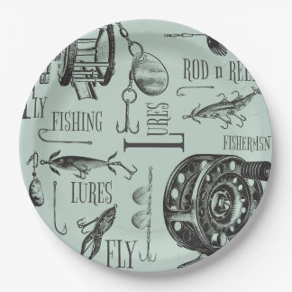 Fishing Reels Lures and Flies Pattern Paper Plate