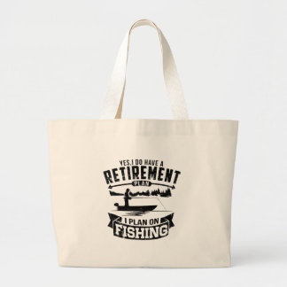 Fishing Retirement Large Tote Bag