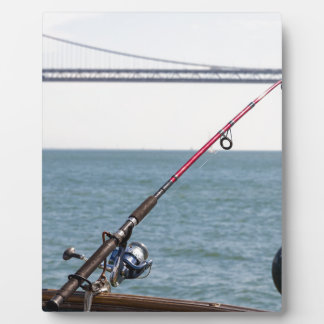 Fishing Rod on the Pier in San Francisco Bay Plaque