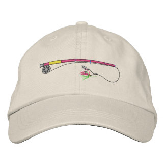 Fishing Rod with Fly Embroidered Baseball Caps