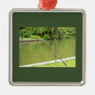 Fishing Rod with Pond Metal Ornament
