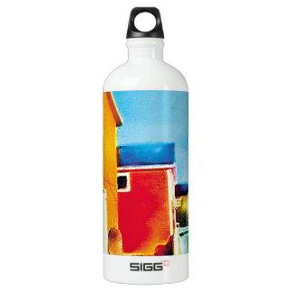Fishing Shacks Painting Water Bottle
