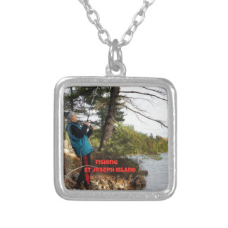 fishing st joesph island silver plated necklace