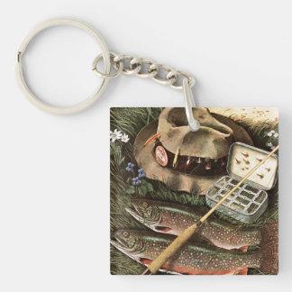 Fishing Still Life Double-Sided Square Acrylic Key Ring