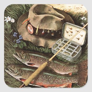 Fishing Still Life Square Sticker