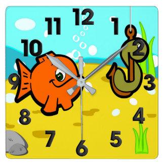 Fishing store square wall clock