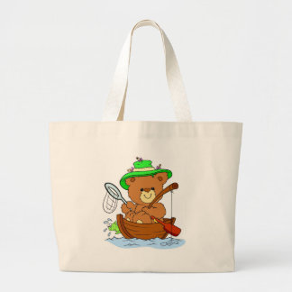 Fishing Teddy Bear Large Tote Bag