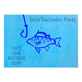 Fishing themed blue Bachelor Party Card