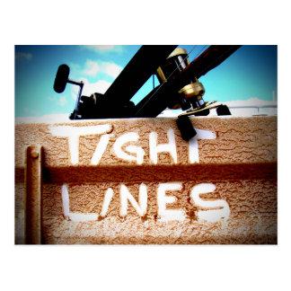 Fishing tight lines fishing rod fishing reel postcard