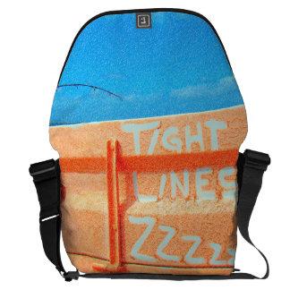 Fishing tight lines zz blue orange sky fishing rod commuter bag