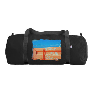 Fishing tight lines zz blue orange sky fishing rod gym duffel bag