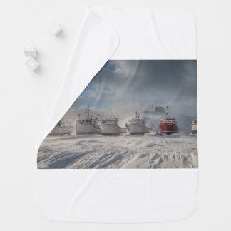 fishing vessels in snow baby blanket