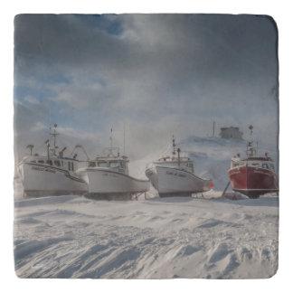 fishing vessels in snow trivet